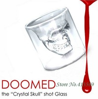 Free shipping 6 pcs/lot Doomed Crystal Skull Shot Glass/Crystal Skull Head Vodka Shot Wine Glass Novelty Cup