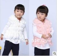 free shipping baby fur tank top fashion cardigan vests girl waistcoat kids clothes cartoon topcoat turn down wear 6pcs wholesale