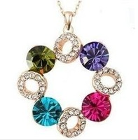 Luckly Colorful Crystal Rhinestone Wedding Short Necklace Jewelry 2pcs/Lot Z-T2008 Free Shipping