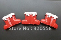 "Wholesale 30pcs 1"" Christmas Red Shoes FlatBack Resins Scrapbooking Embellishment Free Shipping"