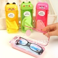 Free shipping,Cute aniaml PVC glasses box, come with glasses cloth