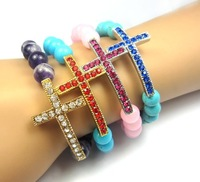 Cross Bracelet 8mm Amethyst/Amzon/Turquoise Beads Crystal Sideways Cross Bracelet