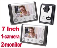 7 Inch Video Door Phone Doorbell Intercom Kit 1-camera 2-monitor Night Vision Nightvision