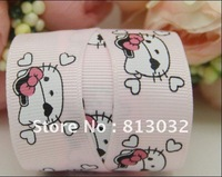 Free shipping! 7/8 ''(22mm)light pink pirate kitty, printed ribbon Grosgrain ribbon wholesale, 50 yards/lot