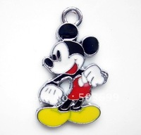 LS762 Free Shipping 100pcs zinc alloy metal pink mickey  charms metal enamel pendant 28x17mm