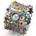 Golden Rhinestone Ladies Dress Bangle Watch Quartz Bohemian Bracelet Wristwatch