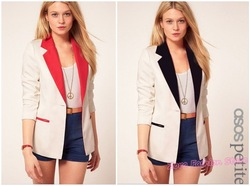 Free Ship High Quality Women Suits Slim Blazer Coat, White Red /Black Color Block One Button Sleeve Ladies Casual Jacket Coats(China (Mainland))