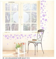 819 Free Shipping the dance of flowers wall paste@@Purple Large@@ stickers wall home paper