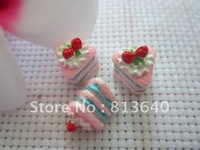 FREE SHIPPING 20 Triangle,Resin,Lucite Charms,Fruit,Cream Cake Beads,Pendant Findings 13x15x13mm .