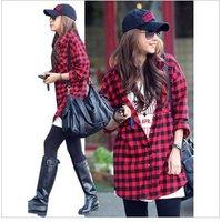 Fashion long black with red plaid long sleeves  shirt women's shirt