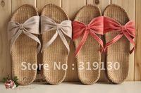 Free shipping Bowtie Linen Garden In-house Slipper ,Flip-flop 2 color options