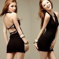 2012 new style  sexy slim hip one-piece women  dress slim tight V-neck black red vest dress super sexy lady dress for you