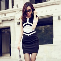 0805 # model real shot * 2014 autumn new geometric patterns and stitching Slim dress