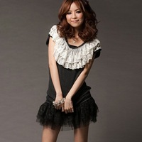 8633 # romantic lace double-layer jacquard collar can be the texture of strapless tops - brown ( 200g)