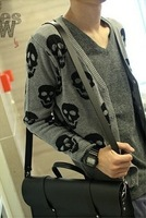 Spring and autumn male skull slim male 100% cotton cardigan male sweater men's clothing outerwear