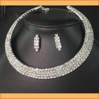 new Men's Jewelry Crystal 4row Wedding Bridal Wedding Bridesmaids Diamante Clear Crystal Choker Necklace Earrings Set