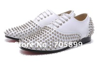Red bottom men's shoes  Freddy Studded Patent Lace Up Oxford white leather shoes