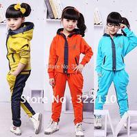2012 Autunn New Arrival Girls suits 2pcs/set Children Sport set Working dress Tracksuit Kids Casual clothes
