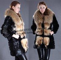 Free EMS DHL Genuine Large Raccoon fur collar coat Oversized   Rabbit  Fur Long Shawls Vest  Jacket outwear S M L XL XXL XXXL