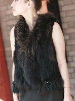 Factory direct  Knitted Genuine  Rabbit Fur Vest with tassels waistcoat lady vest //Wholesale drop sale
