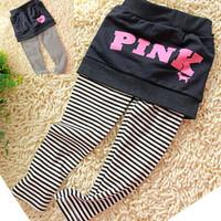Female child faux two piece legging skirt autumn 100% cotton letter stripe legging rompers skorts