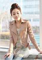 Free shipping Wholesale - New Women's Zipper PU Leather Jacket Lady Coat Outerwear A105