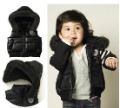 Hot,retail free shipping !children&#39;s vest(1pcs/1lot)boy vests black outerwear baby jacket vest 90-100-110-120 red black(China (Mainland))