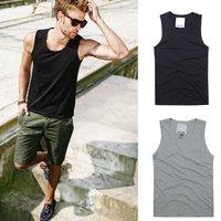 Popular plain vest men's clothing fashion wide casual 100% cotton male slim undershirt