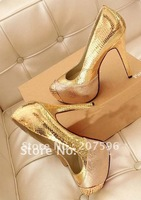 Wholesale Red bottom Brand Sexy high heels shoes Genuine leather Platforms sequined Snakeskin style wedding Pumps Gold