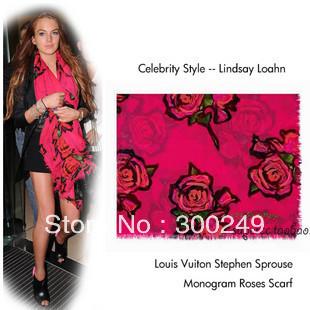 FREE SHIPPING+Retail Fashion women's Rose Printhing Graffiti scarf Shawl scarves Neck Warmer 180*115   C13259SL