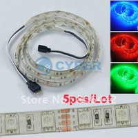 Free Shipping 5pcs/Lot 3FT 1M 60 LED 5050 SMD 3 color RGB 12V Car Auto Decoration Flexible Strip Light