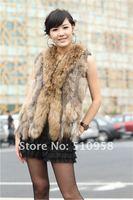 Wholesale:3pcs/lot  factory Knitted Genuine Rabbit Fur Vest with tassels waistcoat lady vest /drop sale
