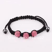 free shipping B128 shamballa pink crystal balls strand bracelets jewelry for women,wholesale wedding  bracelet jewelry