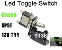 In stock 2013 Green LED Car Carbon Fiber Cover Toggle Switch SPST US Delivery
