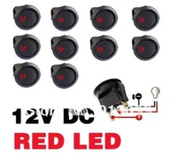 In stock 2013 10Pcs Car Truck Rocker Dot Toggle LED Switch Red Light On-Off Control hot selling