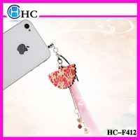 Free shipping! HOT SALE ! &Alloy  Sakura Fan Pendant ,Fashion Earphone dust plug