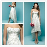 Kingly Strapless Sleeveless HI-Lo Lace Wedding Dresses 2012 Free Shipping