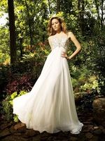 Free Shipping!shoulder straps chiffon embroidery zip up weep train buttons empire full-length beach custom-made Wedding Dresses