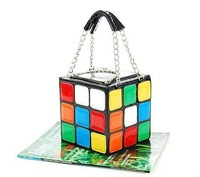 Happy Summer+0$ PROFIT Cubic puzzle Cube Bag, PU leather handbag, Cute Colourful Magic Cube Handbag