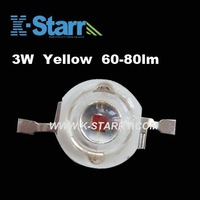 FREE SHIPPING! Wholesale 3W Yellow High Brightness 60-80lm High Power Led Emitting Source,620-630nm , 50pcs/lot,2years Warranty