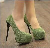 Free shipping new nightclub essential bright glitter waterproof ultra-fine high-heeled shoes