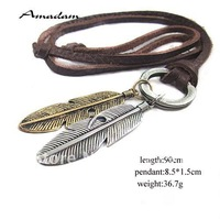 PL016/leather necklaces,high quality punk leaf necklace,fashion jewelry,100% genuine leather,handmade jewelry