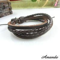 SL356/PU leather bracelet,high quality, fashion casual knite rope bracelet,fashion jewelry,wholesale,100%handmade jewelry