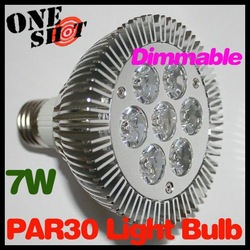 Wholesale 30pcs/ lot Equal 70 Halogen 7W White/ Warm White Par30 LED Dimmable Par 30 Bulb Light E27 Spotlight(China (Mainland))