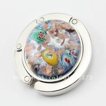 6pcs Wholesale lot mix color Fashion Art Flower Lampwork murano glass floding purse hook handbag holder bag hanger jewelry