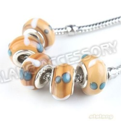 Retail 60pcs Fantastic Colorful Big Hole Beads Lampwork Glass Rhodium Plated Circle Charm Beads Fit European Bracelet 5mm 152091(China (Mainland))