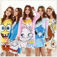 2013  women long sleeve 100% cotton cartoon Doreamon stitch  marie minnie mouse  spongebob  nightgown/ homedress for women