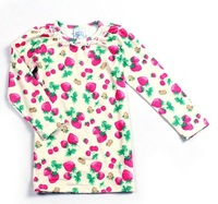 2012 autumn child baby girls clothing 100% cotton long-sleeve T-shirt print  TTD01