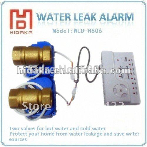 New Water leakage detection alarms with two valves for cold water and hot water to detect water leak in your house,Drop shipping(China (Mainland))