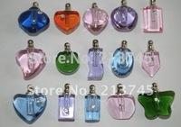 Mix style Perfume glass pendant * Pre-glued cap * screw cap * refillable * vials